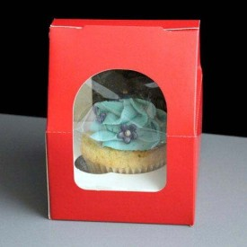 Single Red Cupcake Gable Top Window Box (pack of 10)