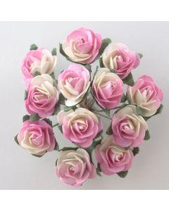 Pink/Cream paper tea rose – 144 Pack