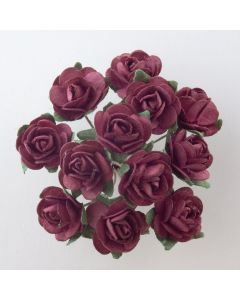 Burgundy paper tea rose – 144 Pack