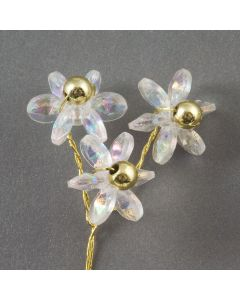 Three iridescent daisies on a gold wire – 48 Pack