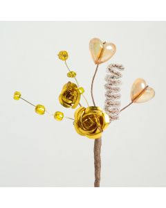 Gold metallic rose & hearts spray – 12 Pack