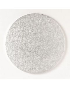 """8"""" Single Thick Round Cake Cards Silver Fern (pack of 5)"""