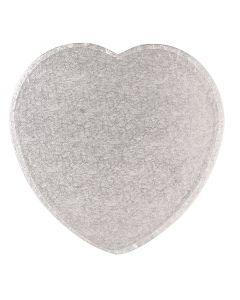"""8"""" Cake Board Heart Silver Fern"""