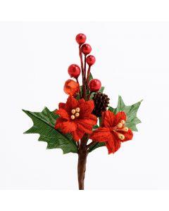 Poinsettia & Berries Spray – Red (12 Pack)