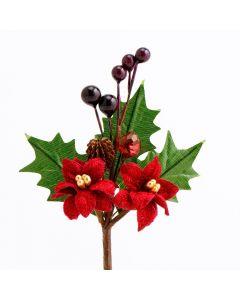 Poinsettia & Berries Spray – Burgundy (12 Pack)