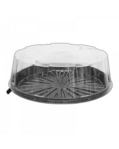 """7"""" Clear Two Part Cake Dome With Black Base + Clear Lid (CKDM5366A) 4"""" Deep x 35"""