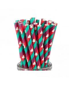 Stripes & Hearts Paper Straws x 25