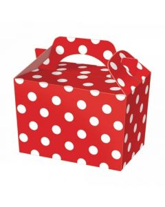 Red Polka-Dot Cake And Sweet Box With Handle (Pack of 5)