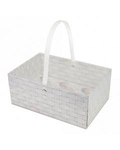 6 Cupcake - White Wicker Design Box With Handle (Single)