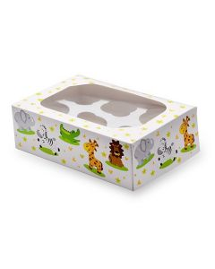 6 Cupcake Box`Jungle Animals` (Pack of 2)