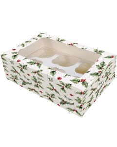 Baked With Love 6 Cupcake Box - Vintage Holly - (Pack of 2)
