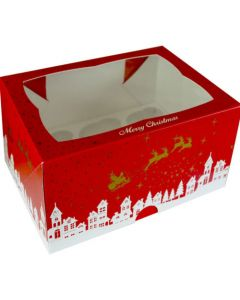 12 Cupcake Box - red christmas cupcake box with window (Pack of 5)