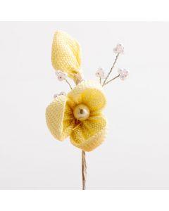 Hessian Flower Spray – Cream (12 Pack)