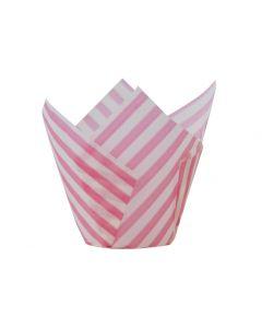 Pink Stripe Tulip Cupcake Case - Pack of 50