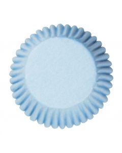 Pale Blue Plain Printed Baking Cases - 50