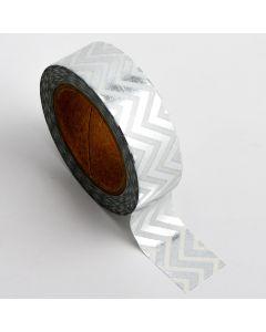 AT016 - Adhesive Washi Tape – Foil Chevron – Silver 15mm x 10m