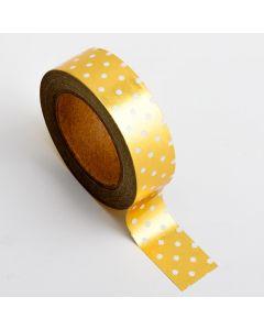 AT017 - Adhesive Washi Tape – Foil Polka Dot – Gold 15mm x 10m