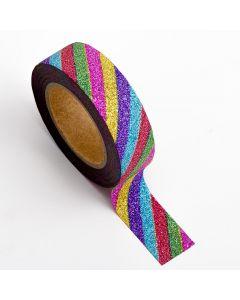 AT020 - Adhesive Washi Tape – Glitter Stripe – Rainbow 15mm x 10m