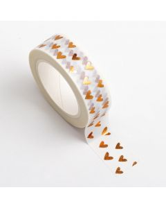 AT027 - Adhesive Washi Tape – Foil – Hearts 15mm x 10m