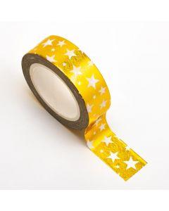 AT030 - Adhesive Washi Tape – Foil Stars – Gold 15mm x 10m