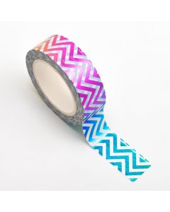 AT032 - Adhesive Washi Tape – Foil – Chevron Rainbow 15mm x 10m