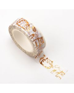 AT035 - Adhesive Washi Tape – Foil – Fat Cats – Copper 15mm x 10m