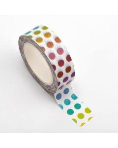 AT037 - Adhesive Washi Tape – Colourful Dots 15mm x 10m