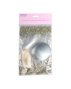 Printed Metallic Spot Cupcake Bags with Ribbon Ties - Pack of 12