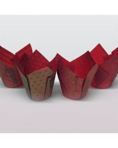 Assorted Red and Gold Tulip Cupcake Case - Pack of 50