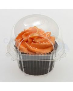 Single Small Clear Hinged Plastic Cupcake Pod/Clam (pack of 10)