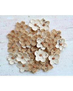Hessian Mini Beaded Flowers (40 Pack)