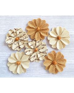 Hessian & Canvas Beaded Flowers (6 Pack)