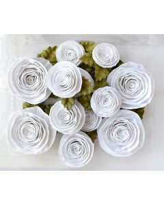 Spiral Paper Roses – White Assorted (12 Pack)