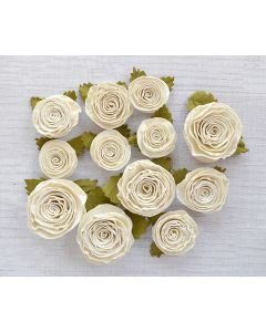 Spiral Paper Roses – Ivory Assorted (12 Pack)