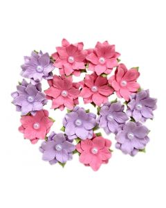 Paper Flowers with Pearl – Sweet Pea Blush (14 Pack)