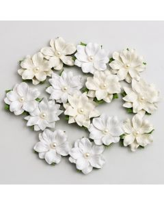 Paper Flowers with Pearl – White/Ivory (14 Pack)