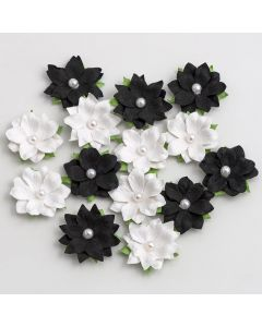 Paper Flowers with Pearl – Monochrome (14 Pack)