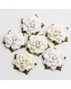 Vintage Paper Flowers – White/Ivory (6 Pack)