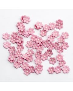 Glitter Paper Flowers Mini – Pink (60 Pack)