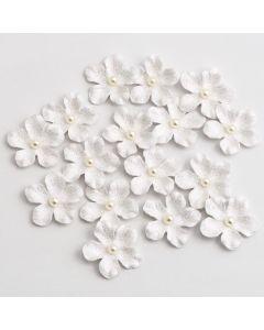 Glitter Paper Flowers Petite – White (16 Pack)