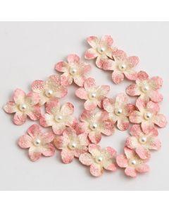 Glitter Paper Flowers Petite – Pink (16 Pack)
