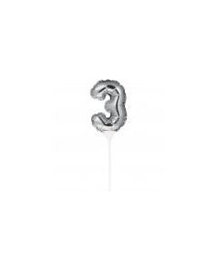 Silver Inflating Mini Balloon Cake Topper - 3