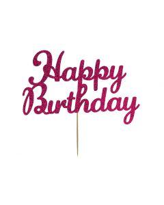 Cake Topper - Happy Birthday - Deep Pink