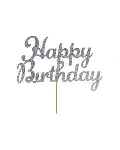 Cake Topper - Happy Birthday - Silver