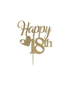 Cake Topper - Happy 18th Birthday - Light Gold