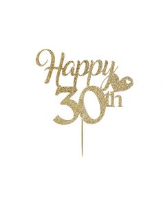 Cake Topper - Happy 30th Birthday - Light Gold
