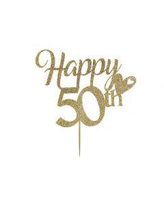 Cake Topper - Happy 50th Birthday - Light Gold