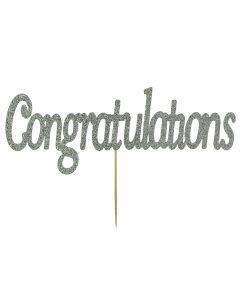 Cake Topper - Congratulations - Silver