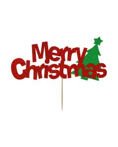 Cake Topper - Merry Christmas - Red and Green