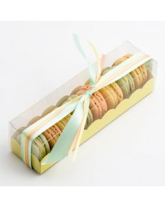 Macaroon box with Yellow Insert 190x50x50mm (pack of 10)